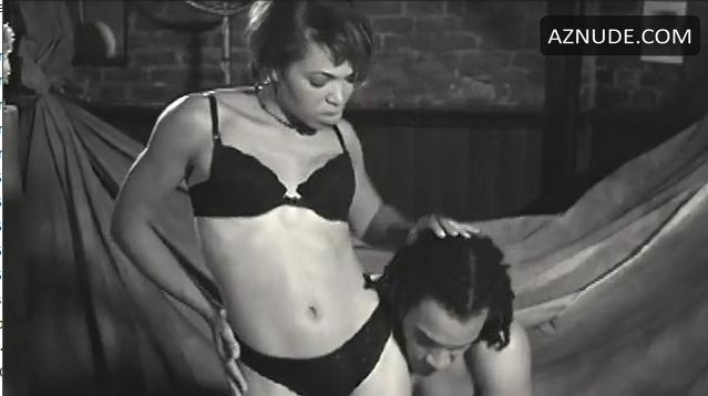 """Tisha Campbell stripping down to her bra and panties in """"Sprung""""."""